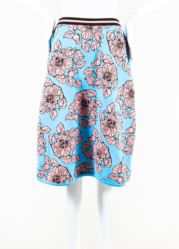 Tak Ori Blue, Pink, and Brown Knit Floral Print A Line Knee Length Skirt Frontview