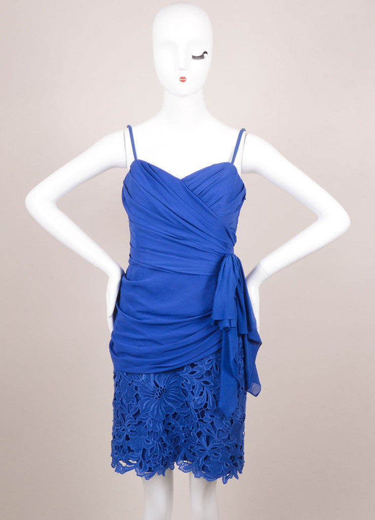 Temperley Blue Silk Lace Ruched Sleeveless Dress Frontview