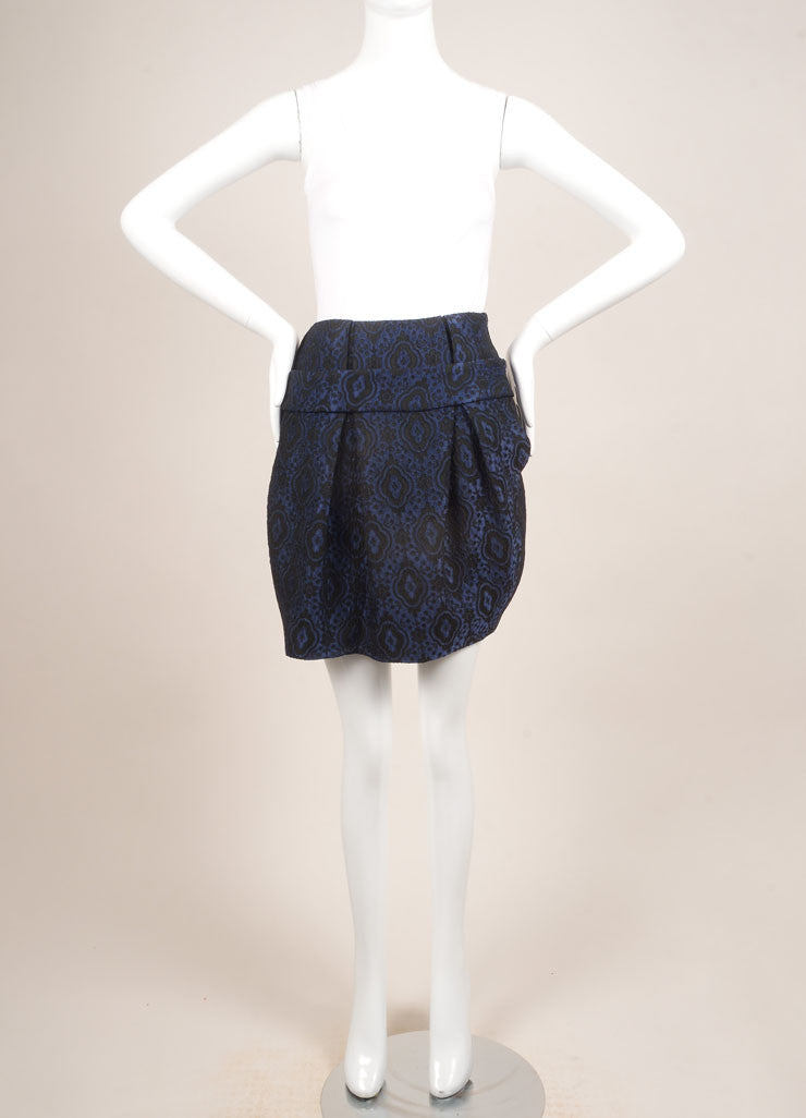 Thakoon Blue and Black Brocade Bubble Skirt Frontview
