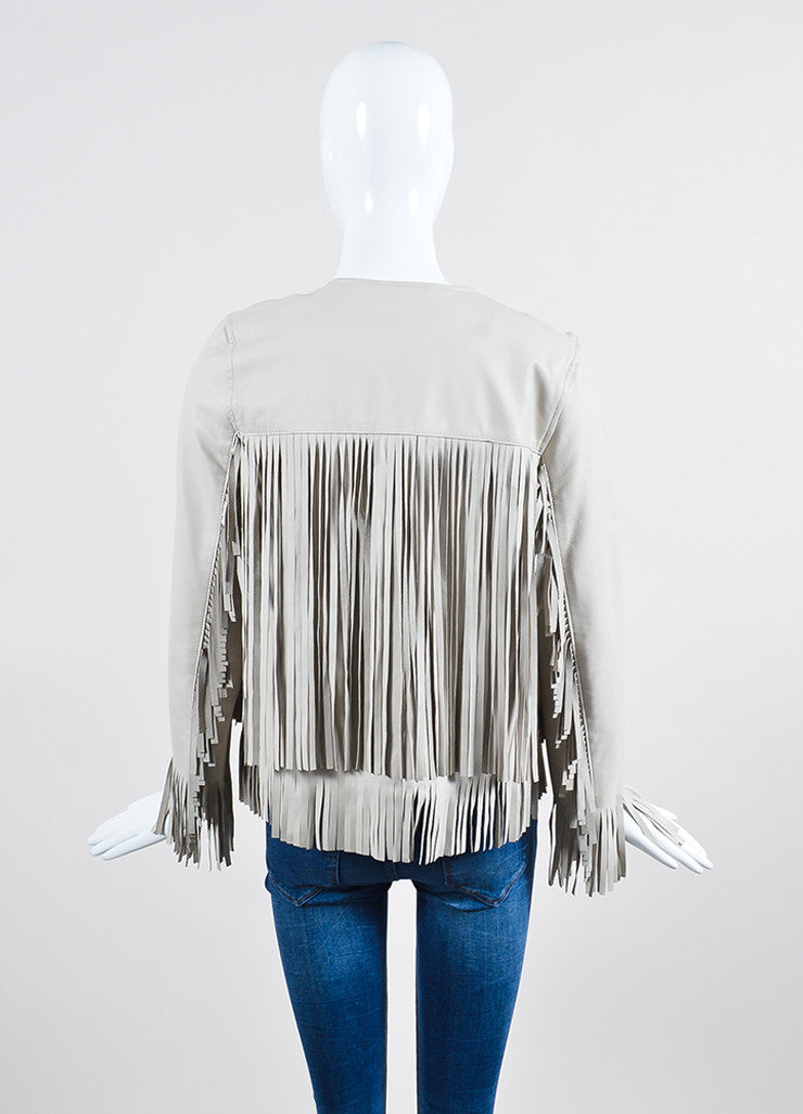 "The Perfext Taupe Grey Leather Fringe ""April"" Jacket Backview"