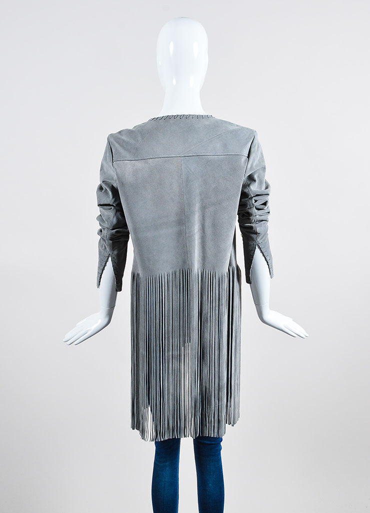 "The Perfext Grey Suede Stitched ""Christy"" Fringe Jacket Backview"