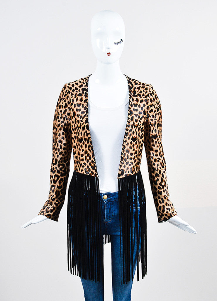 "The Perfext Tan and Black Pony Hair Leopard Fringe ""Christy"" Jacket Frontview"