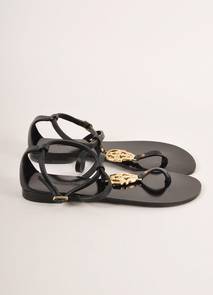 "Thomas Wylde New In Box Black and Gold Toned Skull ""Stand & Deliver"" Sandals Sideview"