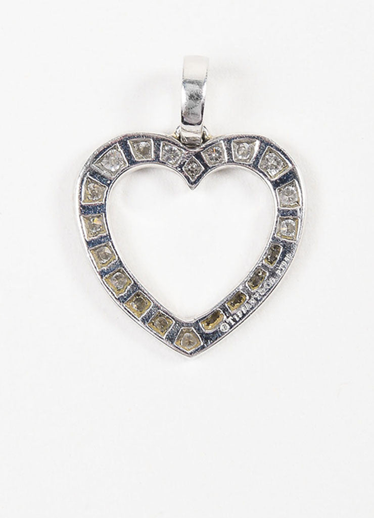 Tiffany & Co. Platinum Pave Diamond Open Heart Pendant Backview
