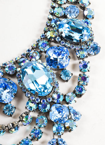 Chrome Toned and Blue Timothy Szlyk Thorin & Co. Rhinestone Necklace Detail