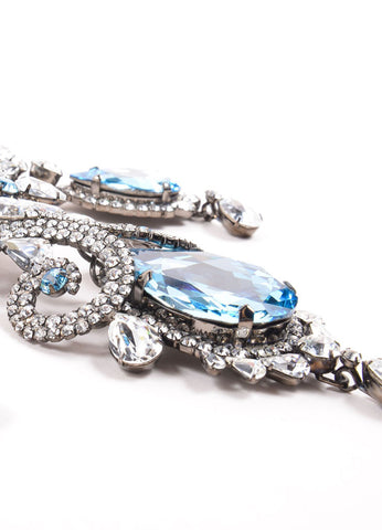 Timothy Szlyk Thorin & Co. Rhinestone and Blue Stone Oversized Ornate Dangle Pin Detail