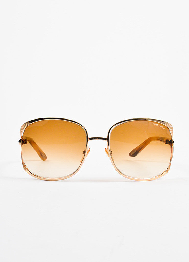 "Tom Ford Gold Toned and Tortoise ""Margaux TF 40"" Oversized Sunglasses Frontview"