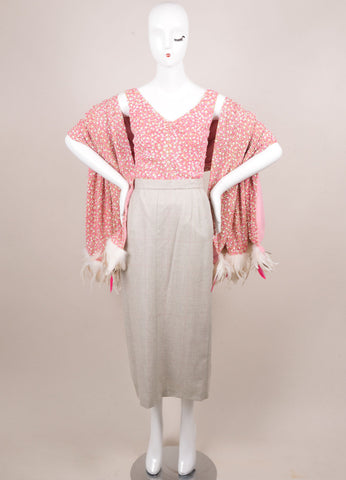 Tuleh Pink and Grey Beaded Three Piece Outfit Frontview