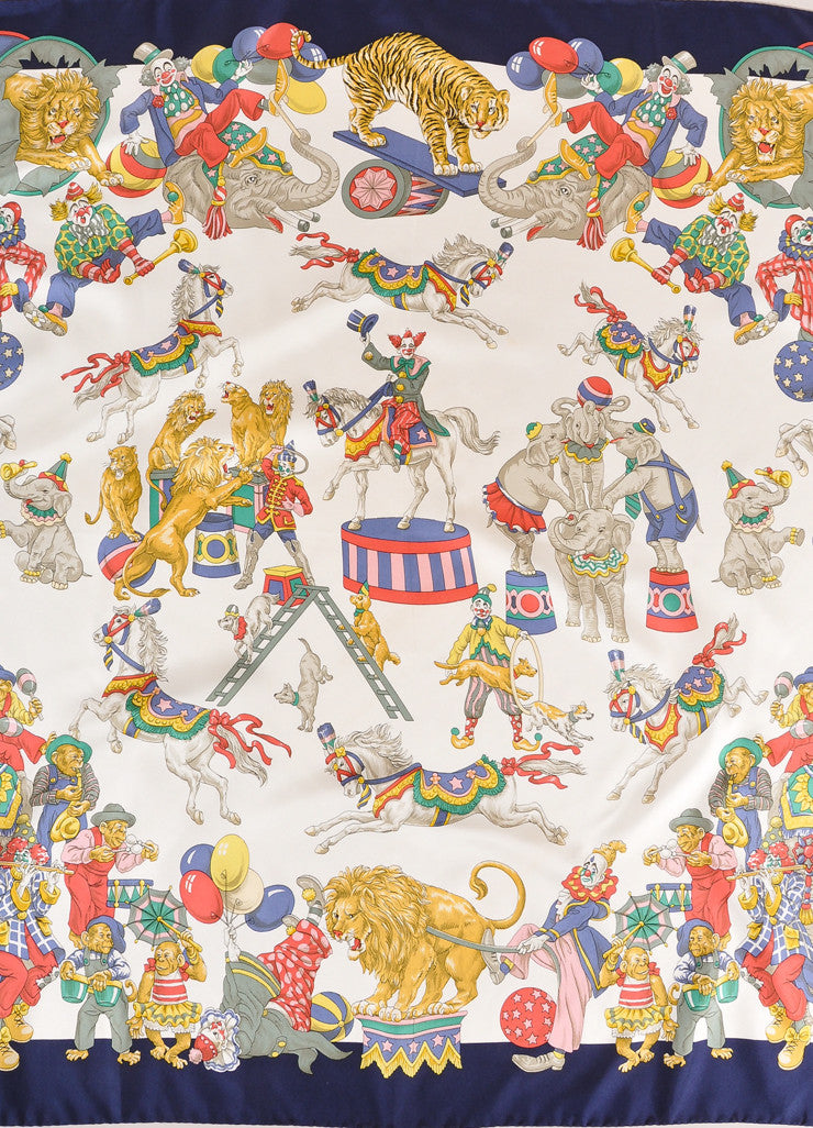 Burberry Navy, Cream, and Multicolor Circus Print Silk Scarf Detail 2