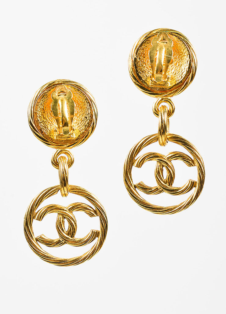 Gold Toned Chanel Ribbed 'CC' Logo Circle Drop Clip On Earrings Backview