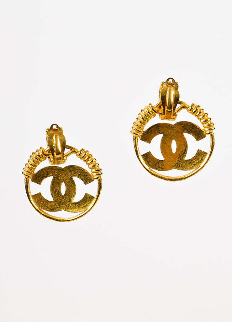 Chanel Gold Toned Hammered Coiled 'CC' Logo Hoop Clip On Earrings Backview