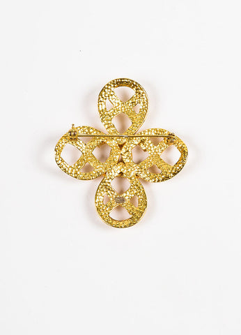 Chanel Gold Toned Woven Swirl Cut Out 'CC' Cross Brooch Pin Backview