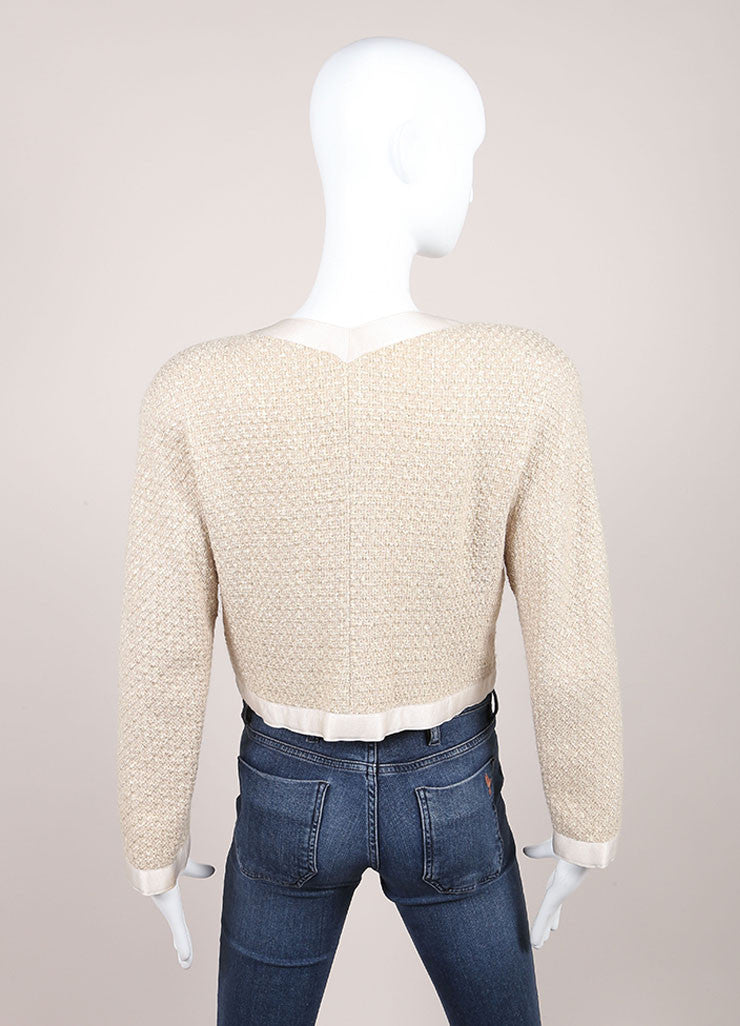 "Chanel Beige Wool and Silk Textured Knit ""CC"" Button Jacket Backview"