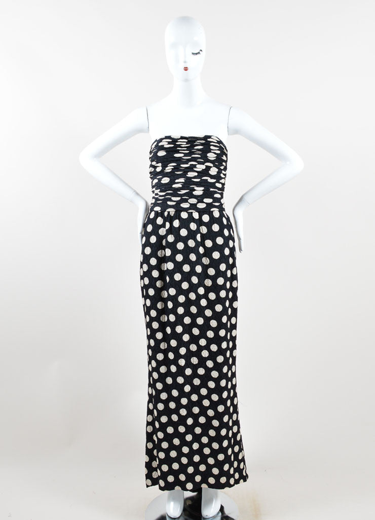 Chanel Black and Cream Polka Dot Ruched Hammered Silk Strapless Gown Frontview