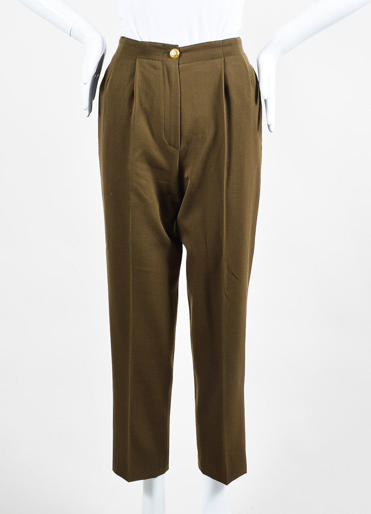 Chanel Green Wool High Rise Straight Leg Trousers Frontview