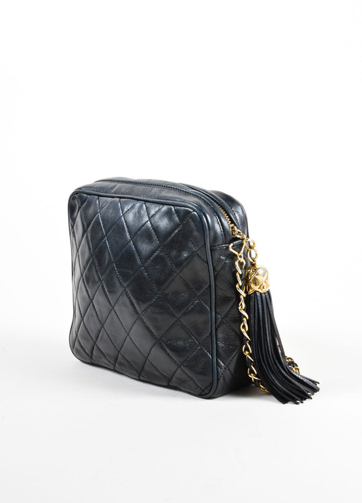 Vintage Chanel Black Leather Quilted Cross Body Bag Back