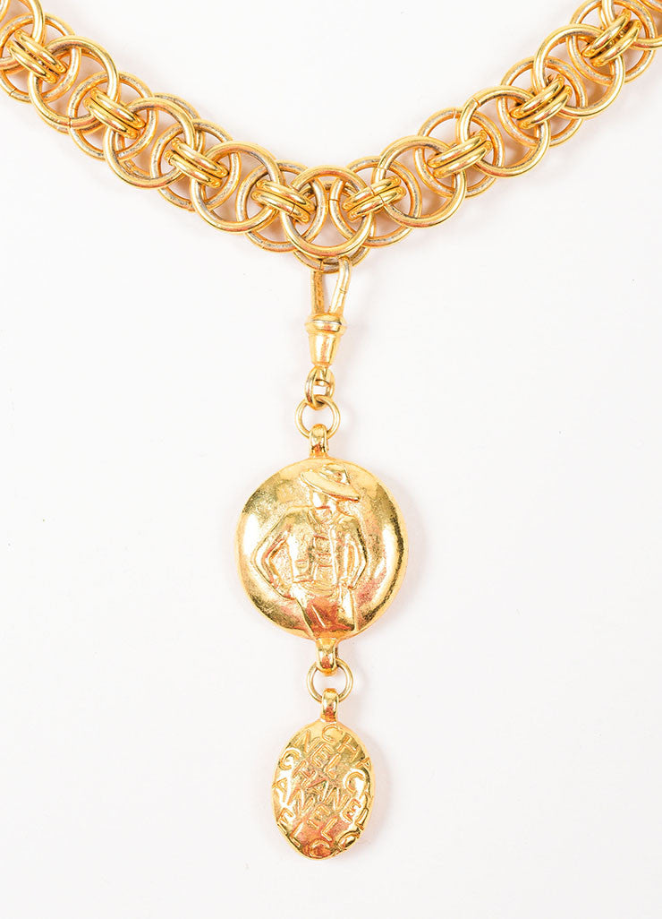 Gold Toned Chanel 'Coco' Figure Removable Pendant Charm Chain Necklace Detail