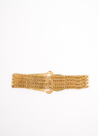 "Chanel Gold Toned Metal ""CC"" Oversized Plate Panel Chain Link Belt Backview"