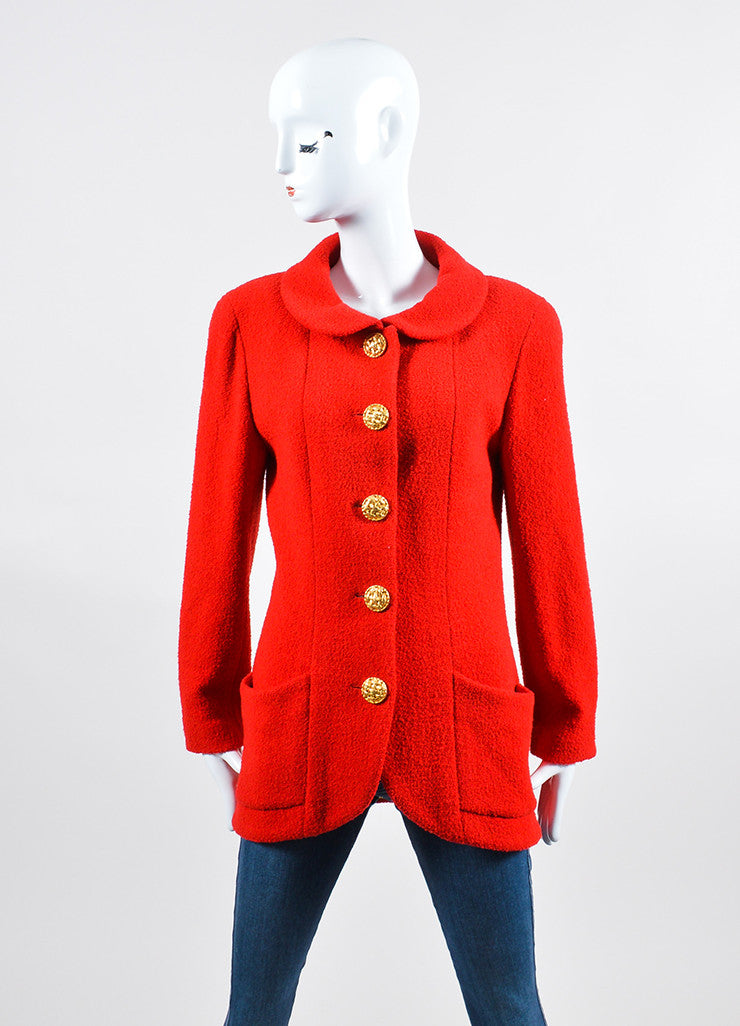 Red Chanel Wool Boucle Tailored Jacket Frontview 2