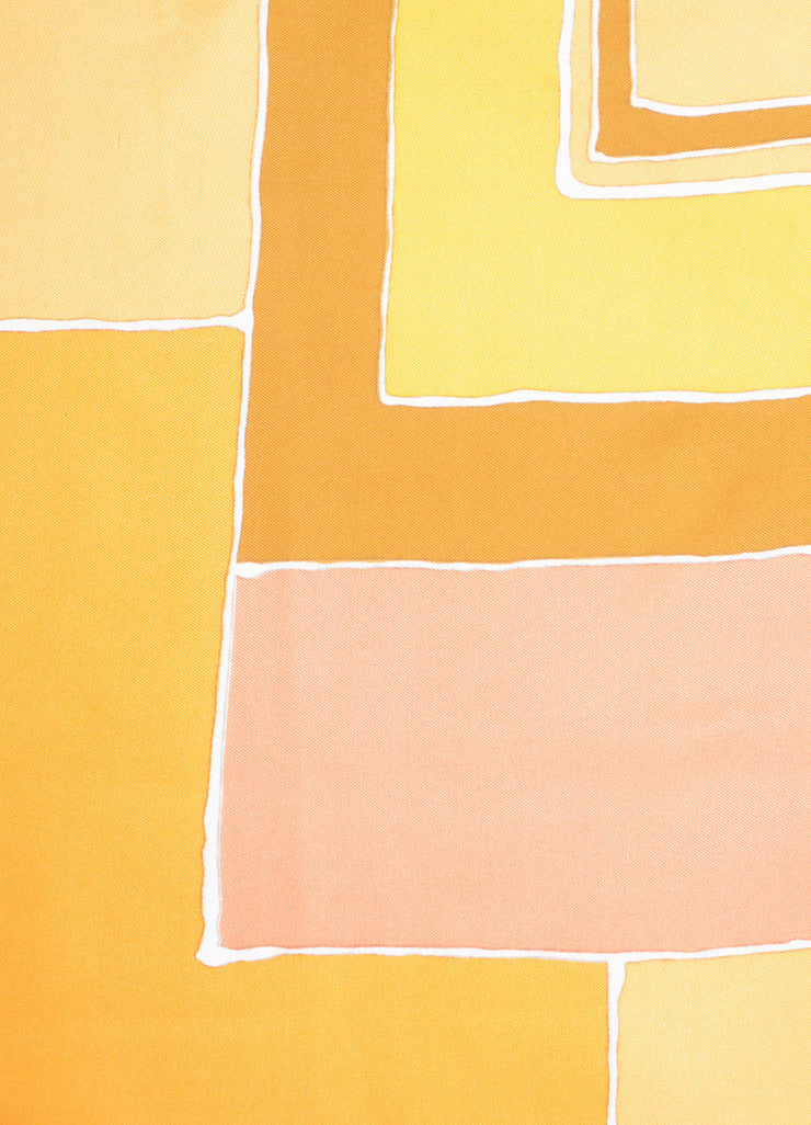 Christian Dior Brown, Orange, and Yellow Block Print Silk Square Scarf Detail