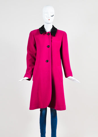 Christian Dior Magenta Pink and Black Velvet Collar Structured Coat Frontview