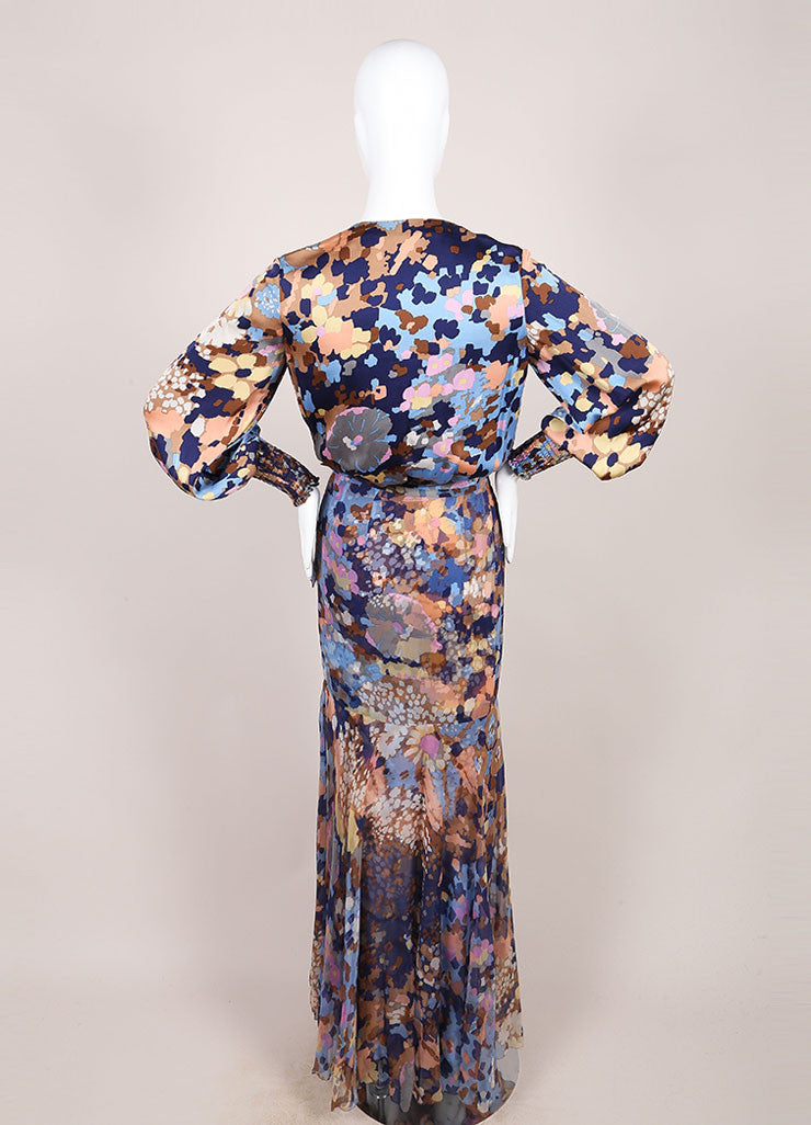 Blue, Brown, and Multicolor Silky Sheer Overlay Floral Print Long Sleeve Dress