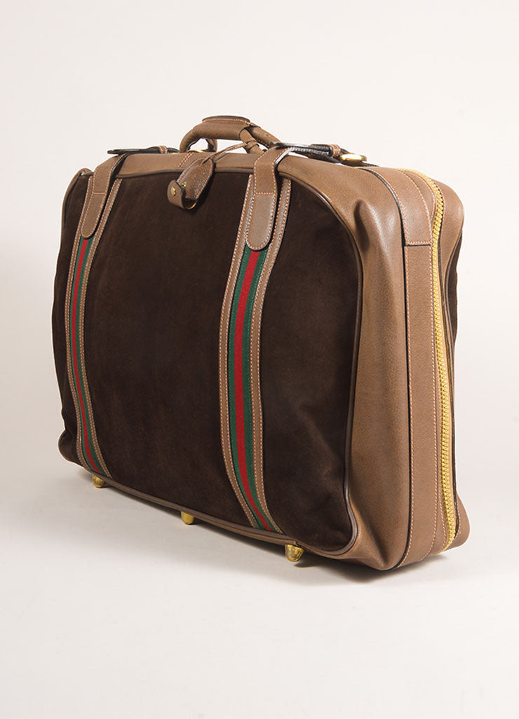 Gucci Brown Suede Leather Classic Striped Zip Around Luggage Bag Sideview