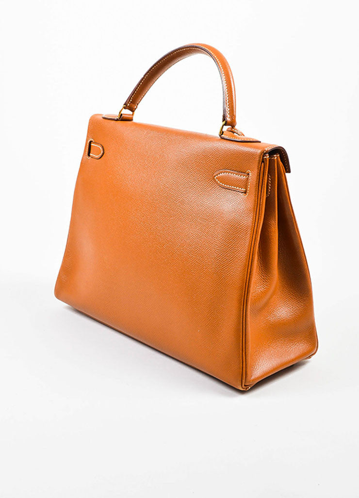 "Hermes GHW Cognac Brown Veau Grain Lisse Leather 32 cm ""Kelly"" Handbag Sideview"