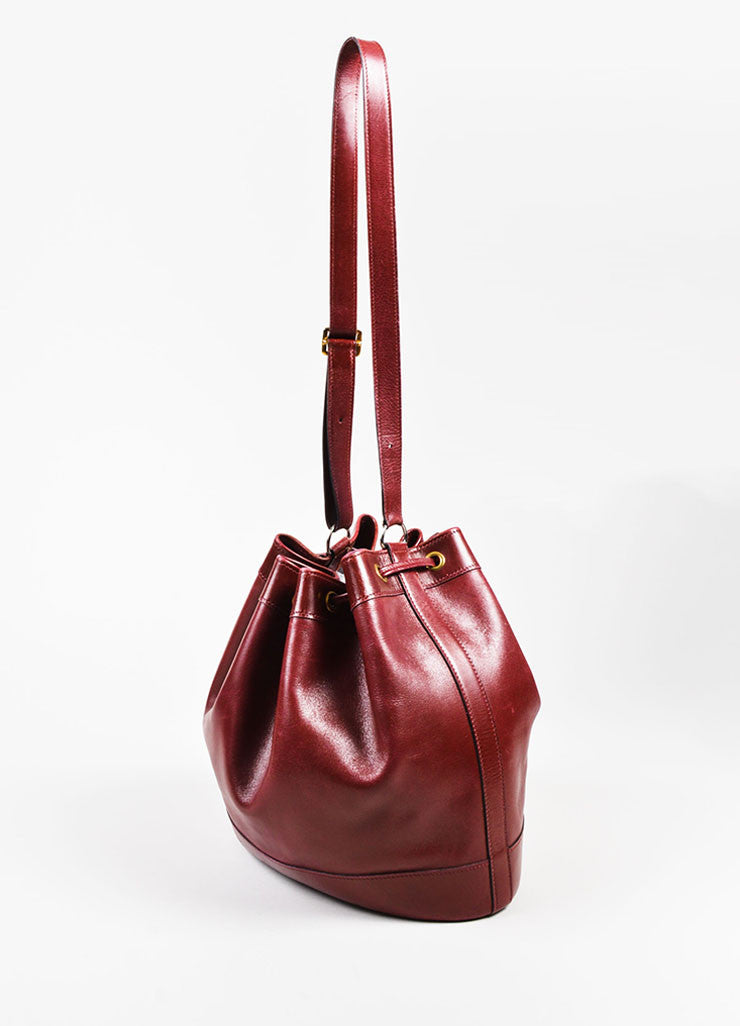 "Hermes Maroon Box Calf Leather ""Market 27cm"" Drawstring Bucket Bag Sideview"
