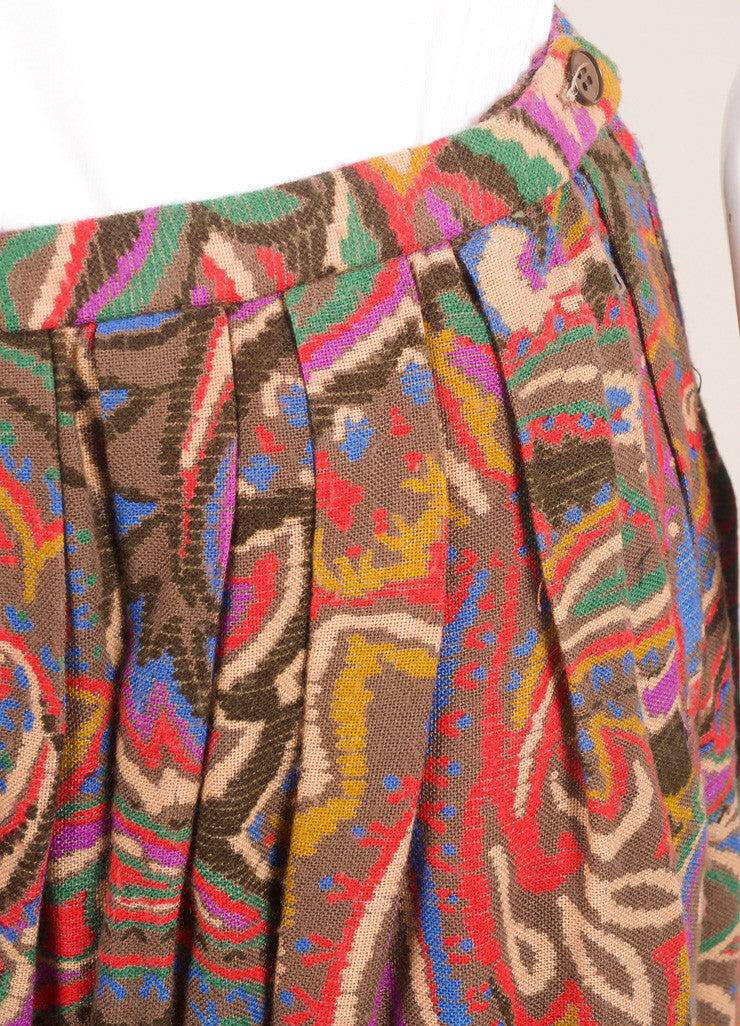 Lanvin Red, Blue, and Brown Floral Paisley Maxi Skirt Detail