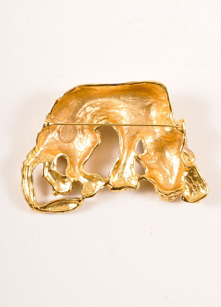 Scherrer Gold Toned Prowling Wolf Pin Brooch Backview