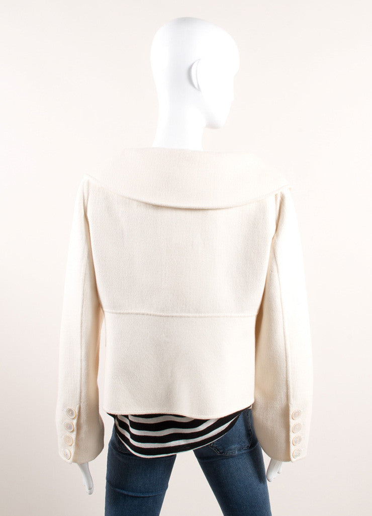 Valentino Cream Wool and Cashmere Open Front Cropped Swing Coat Backview