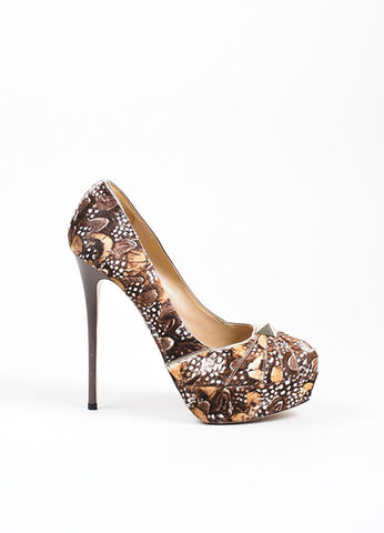 "Brown and White Valentino Feather Print Pony Hair Platform ""Rockstud"" Pumps Sideview"