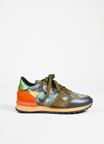 "Valentino Garavani ""Rockrunner"" Multicolor Butterfly Printed Sneakers side"