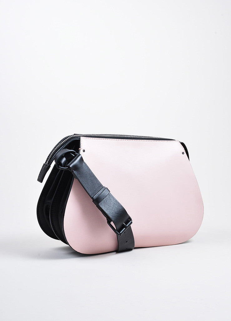 Pink, Brown, and Black Valentino Leather Color Block Saddle Shoulder Bag Sideview