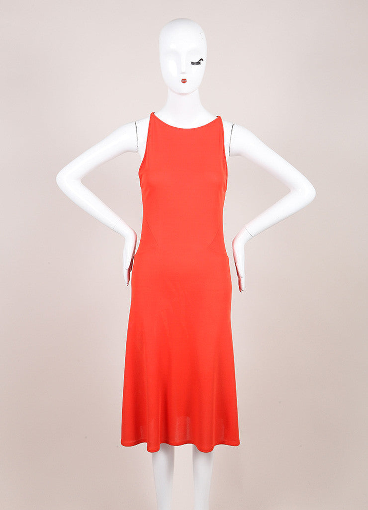 Valentino Roma Coral Orange Textured Jersey Knit Sleeveless Dress Frontview