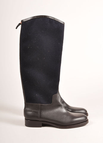 Veronique Branquinho New In Box Black and Brown Leather and Wool Knee High Boots Sideview