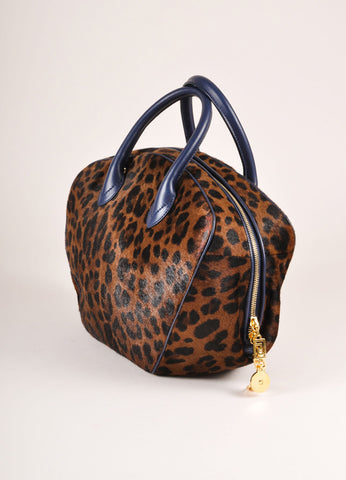 Versace Black and Brown Leopard Print Pony Hair Bowler Bag Sideview
