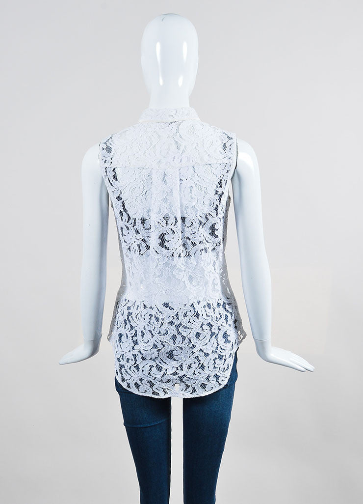 White Victoria Beckham Lace Button Up Sleeveless Top Backview