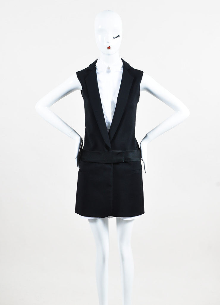 Victoria Victoria Beckham Black and White Cotton Button Up Layered Vest Dress Frontview