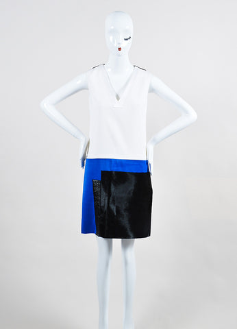 Victoria Victoria Beckham White, Blue, and Black Calf Hair Color Block Dress Frontview