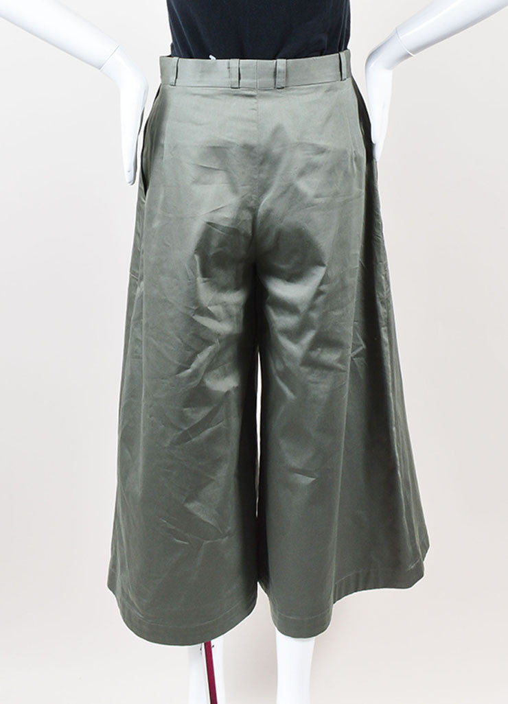 "Vilshenko Khaki Green ""Tara"" Cotton Flared Leg Culottes Pants Backview"