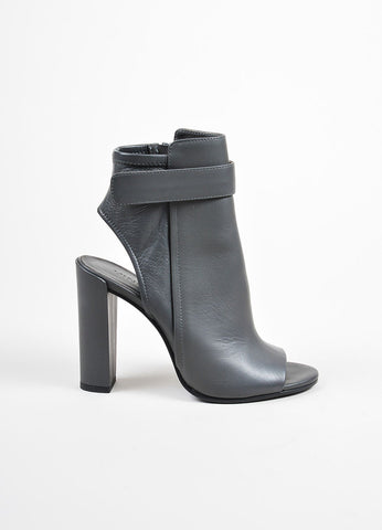 "Graphite Grey Vince Leather ""Brigham"" Ankle Booties Side"