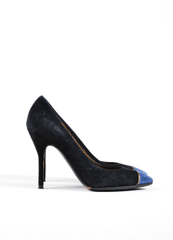 Black and Blue Yves Saint Laurent Suede Pointed Cap Toe High Heels Sideview