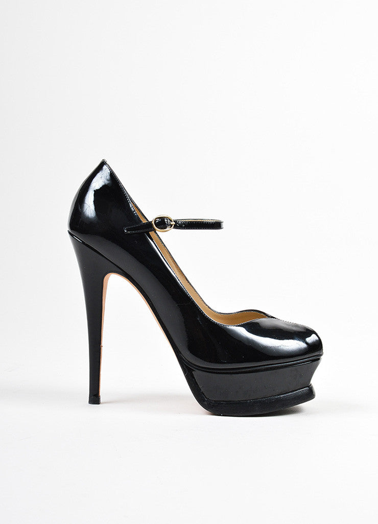 "Yves Saint Laurent Black Patent Leather Mary Jane ""Tribute 105"" Pumps Sideview"