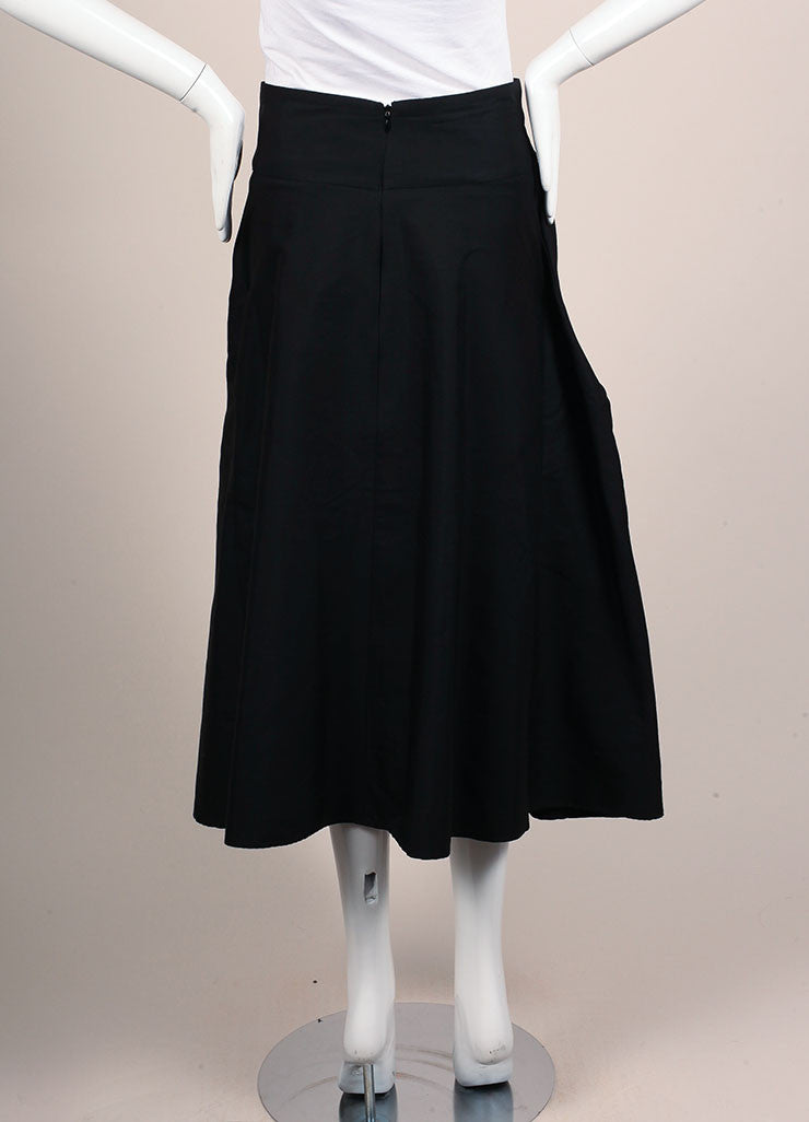 Yves Saint Laurent Black Silk A-Line Pleated Skirt Backview