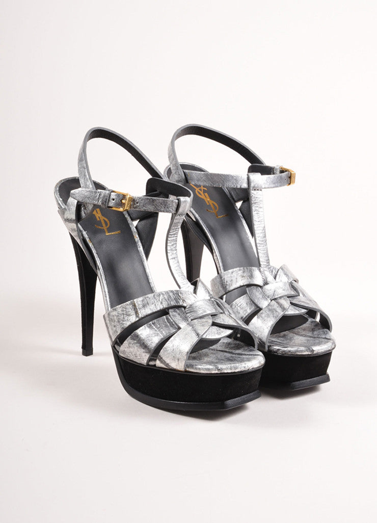 "Yves Saint Laurent Silver and Black Leather ""Tribute"" Sandals Frontview"