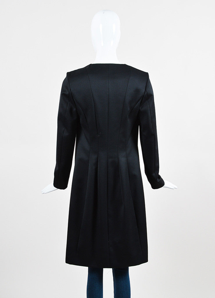 Yves Saint Laurent Black Wool Open Front Topper Long Jacket Backview