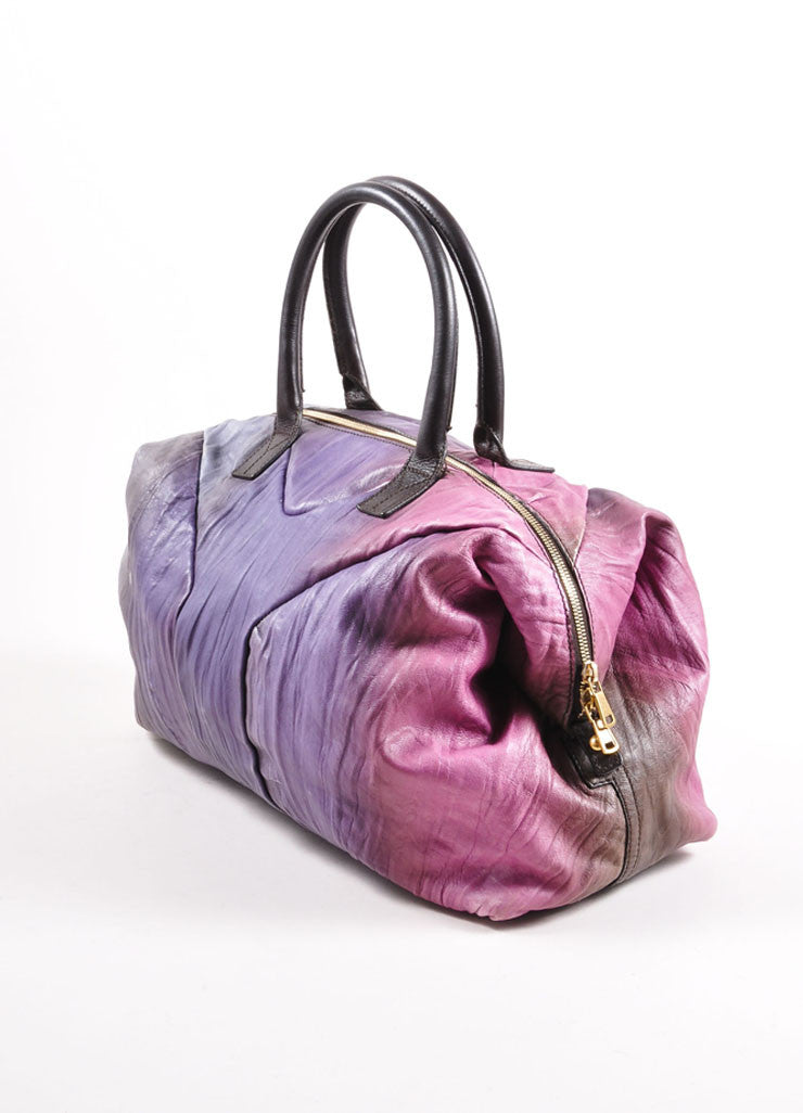 "Yves Saint Laurent Purple Multicolor Leather Ombre ""Easy Sac"" Satchel Bag Sideview"