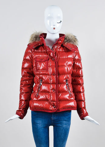 "Red Moncler Quilted Down Puffer Fur Trim ""Armoise"" Jacket Frontview 2"